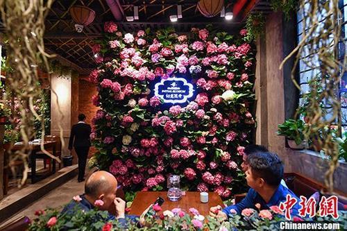 """昆明现""""鲜花主题餐厅""""三千余盆鲜花伴客用餐"""